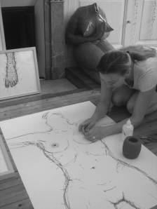 Armelle Blary  dans son atelier 2010